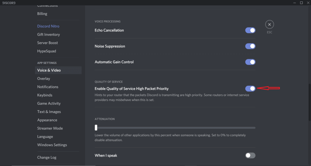 Discord quality of service