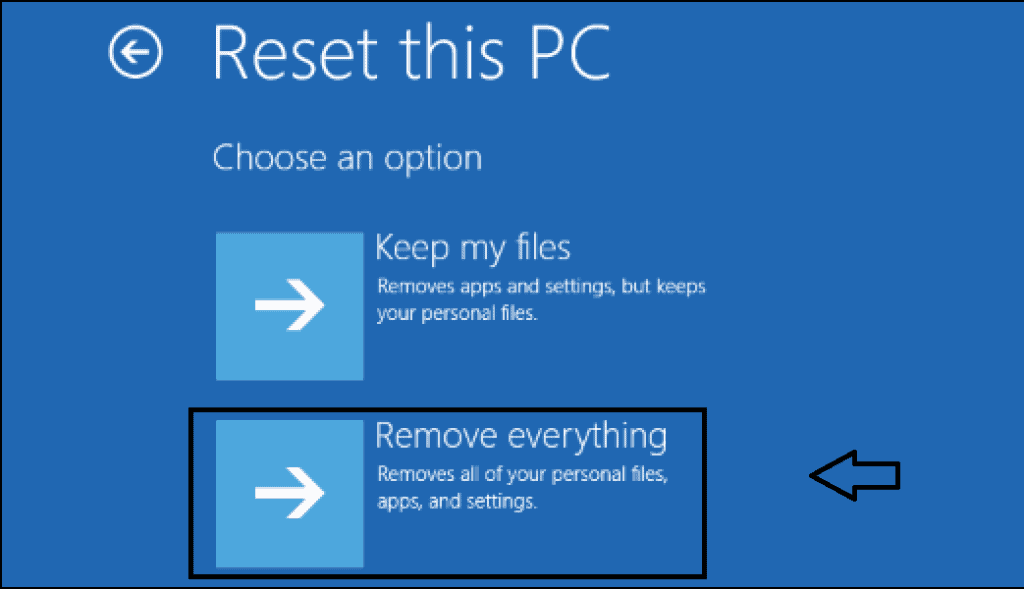 remove everything while reset this PC
