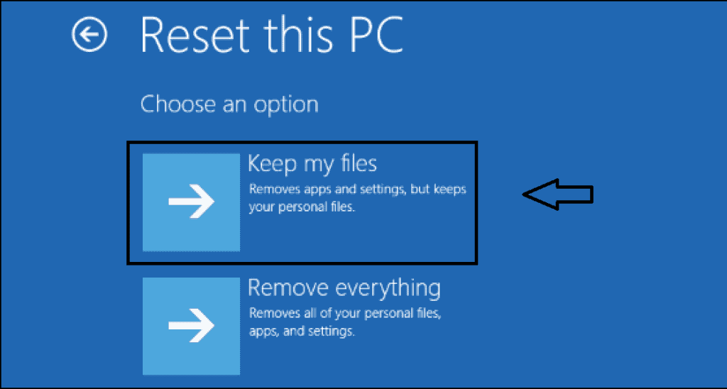 Keep my files while reset this PC