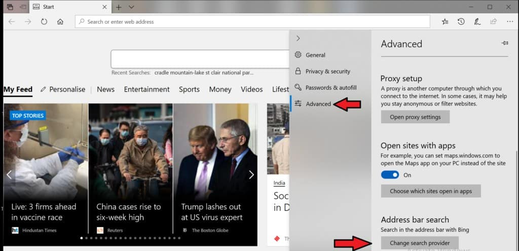 change search provider in edge