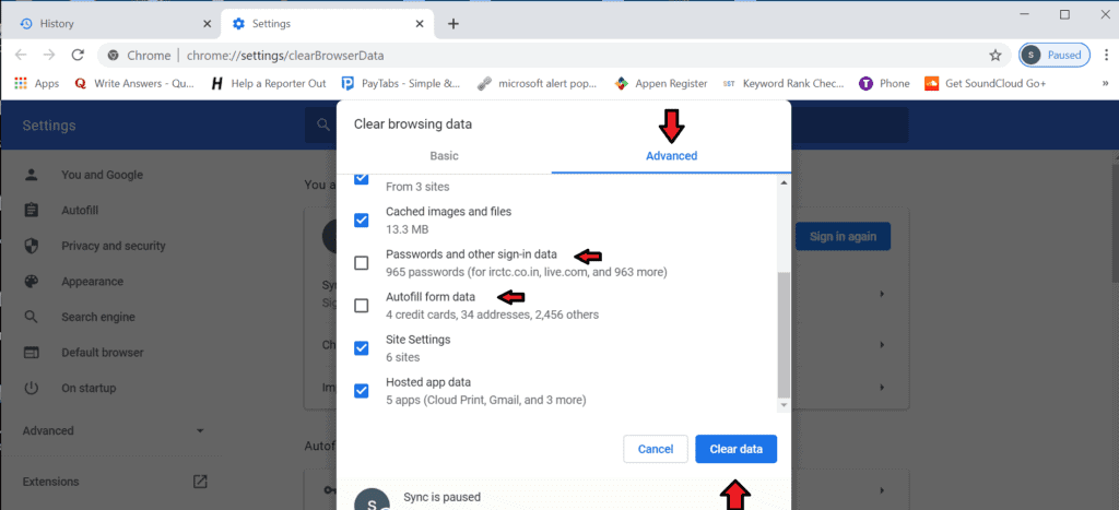 clear browsing history to fix pornographic virus alert from microsoft