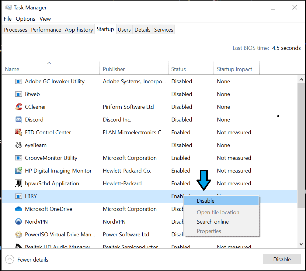 disable startup in windows