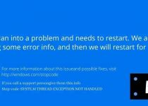 how to fix 'system thread exception not handled' error in windows 10