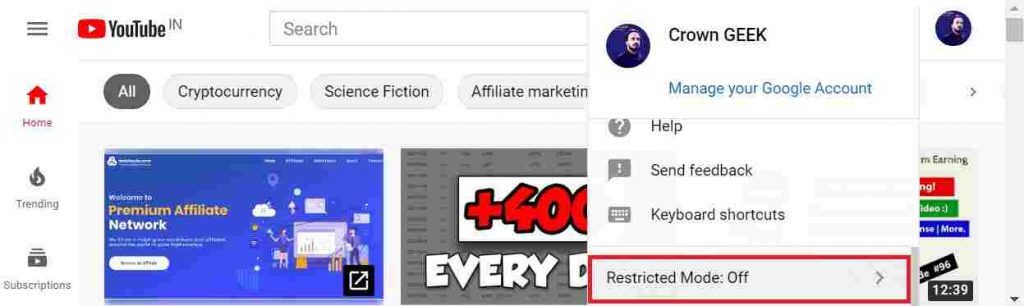 How to turn off youtube restriction mode