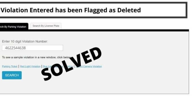 Violation Entered has been Flagged as Deleted
